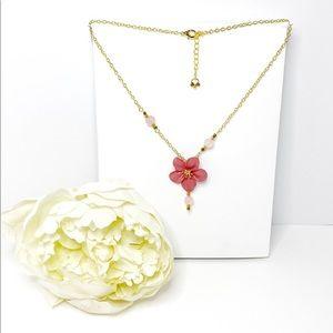 Pink Blossom & Rose Quartz Gold Necklace
